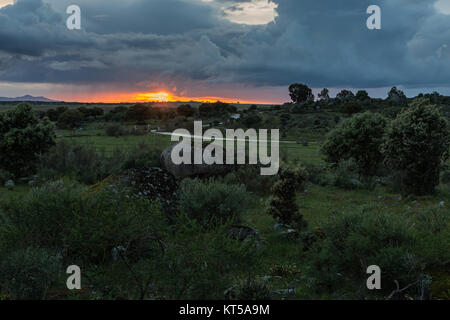 Sunset in the natural area of Barruecos. Extremadura. Spain. - Stock Photo