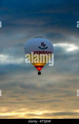 Hot air balloon, balloon ride over the hammer East, ballooning, Hamm, Ruhr, Nordrhein-Westfalen, Germany, Europe, - Stock Photo