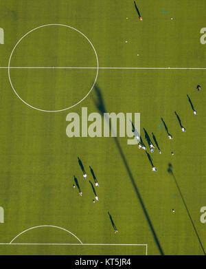 Gustav Hoffmann Stadium, football training green grass field. Center circle, soccer field, Kleve, Niederrhein, North - Stock Photo