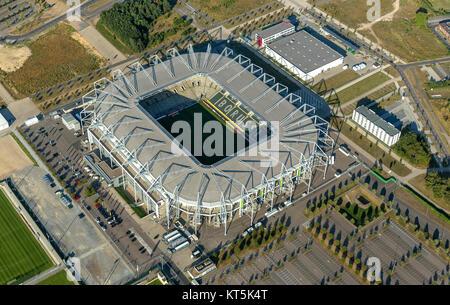 Borussia-Park, the stadium of Borussia Mönchengladbach, Bundesliga football, Moenchengladbach, Lower Rhine, North - Stock Photo