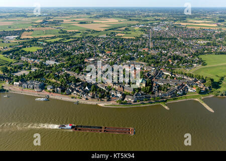 Rees Cityscape from the Rhine, Rheinkai, Rees, inland waterways, Niederrhein, North Rhine-Westphalia, Germany, Europe, - Stock Photo