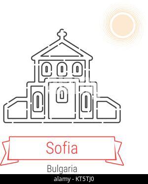Sofia, Bulgaria Vector Line Icon with Red Ribbon Isolated on White. Sofia Landmark - Emblem - Print - Label - Symbol. - Stock Photo