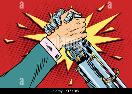Man vs robot Arm wrestling fight confrontation - Stock Photo
