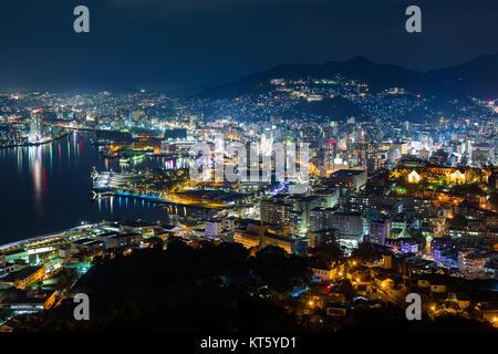 Nagasaki City in japan at night - Stock Photo