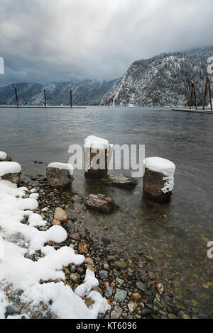 Landscape image of Pend Oreille Lake in winter taken from Farragut State Park in Idaho. - Stock Photo