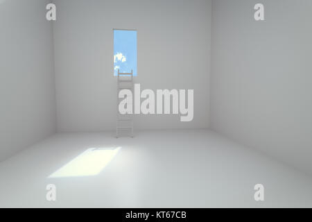 3d rendering of empty room with laddar - Stock Photo