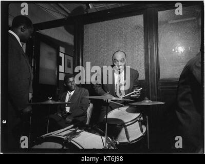 (Portrait of Freddie Moore and Joe Thomas, William P. Gottlieb's office party, Jamaica, Queens, New York, N.Y., - Stock Photo