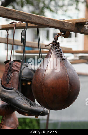 Vintage sports equipment on old street market - Stock Photo