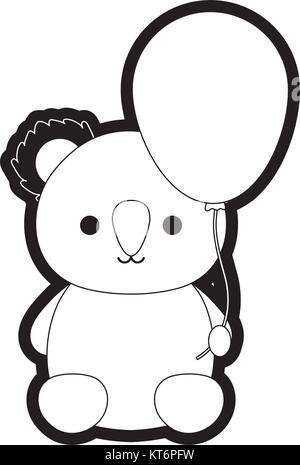 koala with balloon vector illustration - Stock Photo