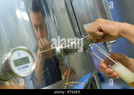 anufacturer working at storage tanks in brewery - Stock Photo