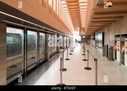 The platform for the UP Express or Union Pearson Express train at Union Station in Toronto, Ontario, Canada. - Stock Photo