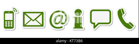 Contact Us, set of six green colored icons with white frame and shadow Stock Photo