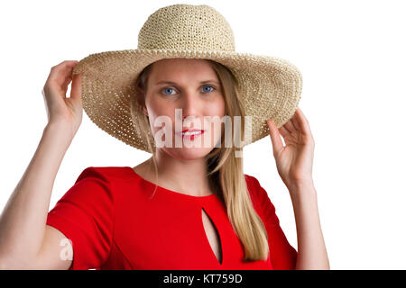 blonde woman in red dress with straw hat,isolated on white - Stock Photo