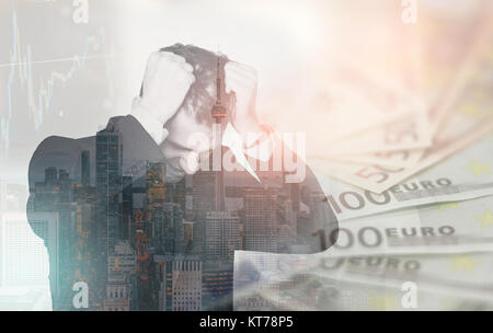 Double exposure of business man in stress over financial issues, pulling his hair in despair. Finance concept - Stock Photo