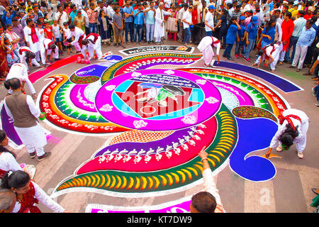 Large Rangoli. Pattern created on the floor using colored powders. Ganesh Chaturthi - Stock Photo