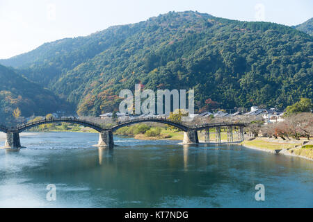 Kintaikyo Bridge in Iwakuni, Hiroshima, Japan - Stock Photo