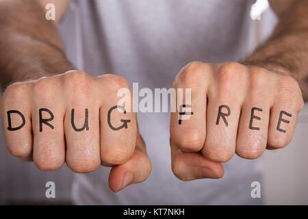 Drug Free Concept On Fist - Stock Photo