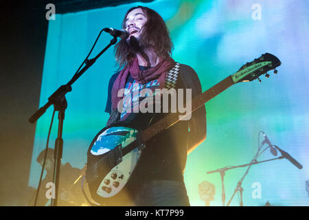 The Australian musical project Tame Impala performs a live concert at Sentrum Scene in Oslo. Here guitarist and - Stock Photo