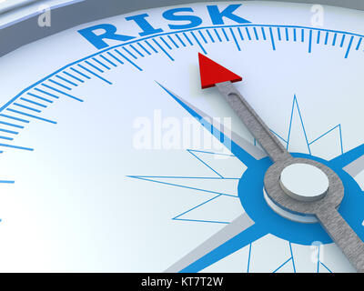 Risk word on compass isolated - Stock Photo