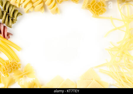 abstract background made of pasta on white background - Stock Photo