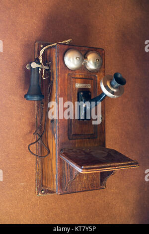Antique telephone at Bar U Ranch National Historic Site - Stock Photo