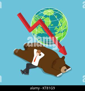 Flat 3d isometric businessman lay down on sleeping bear. bearish stock market and financial concept. - Stock Photo