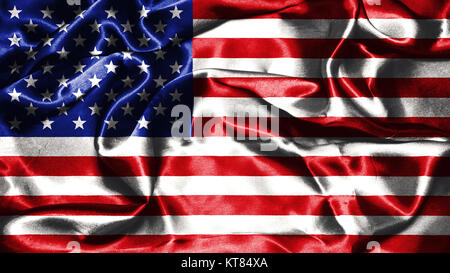 American flag grunge looking and waving in the wind 3D illustration - Stock Photo