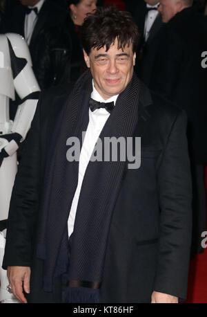 Dec 12, 2017 - Benicio Del Toro attending 'Star Wars: The Last Jedi' European Premiere at Royal Albert Hall  in - Stock Photo