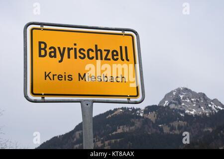 sign,blackboard,place sign,traffic sign,bayrischzell,miesbach,wendelstein,ski resort - Stock Photo