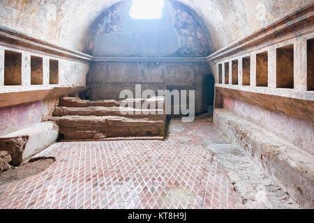 Pompeii, Italy - October 1, 2017: Interior of public baths in ancient city Pompeii, Naples, Italy - Stock Photo