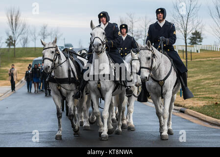 Soldiers from The 3d US Infantry Regiment (Old Guard) Caisson Platoon participates in the full honors funeral of - Stock Photo