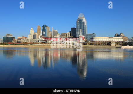 The Great American Ballpark in Cincinnati across the Ohio River - Stock Photo