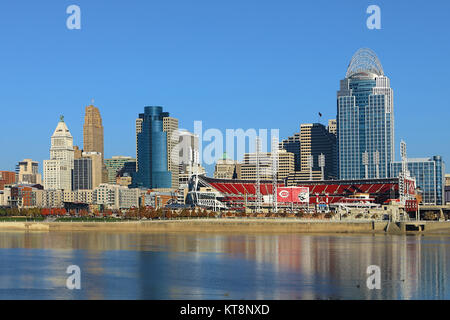 The Great American Ballpark in Cincinnati with Ohio River in foreground - Stock Photo