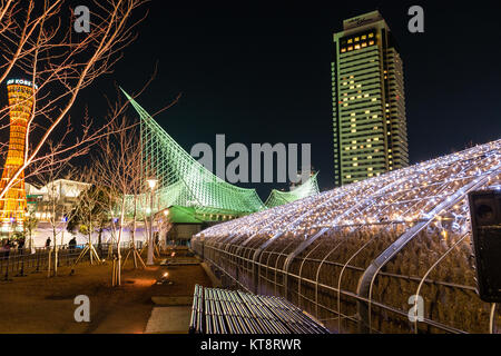 Kobe, Japan. Metal frame constructed grotto with colour lights over the roof at the waterfront. Part of the Tallest - Stock Photo