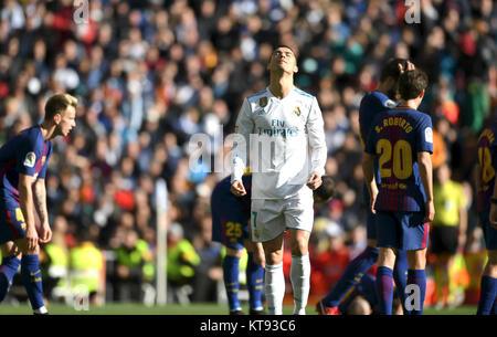 Madrid, Spain. 23rd Dec, 2017. Real Madrid's Cristiano Ronaldo (front) reacts during the Spanish La Liga soccer - Stock Photo