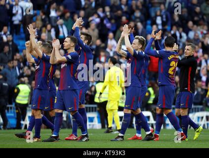 Madrid, Spain. 23rd Dec, 2017. FC Barcelona's players celebrate their win against Real Madrid at the end of their - Stock Photo
