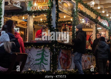 Budapest, Hungary. 23rd Dec, 2017.  Christmas Fair at Vörösmarty square in Budapest Credit: Veronika Pfeiffer/Alamy - Stock Photo