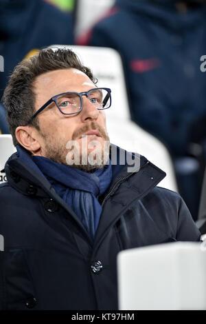 Turin, Italy. 23rd Dec, 2017. Eusebio Di Francesco, head coach AS Roma, during the Serie A football match between - Stock Photo