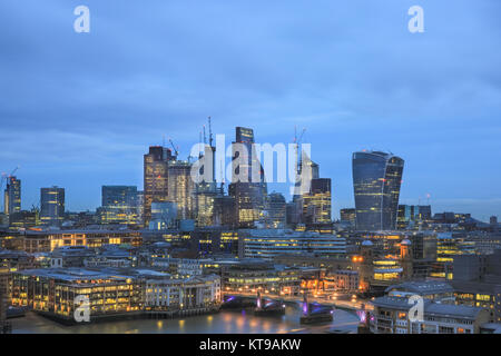 Panoramic view of the City of London skyline with the Walkie Talkie and Cheesegrater skyscrapers, London, UK - Stock Photo