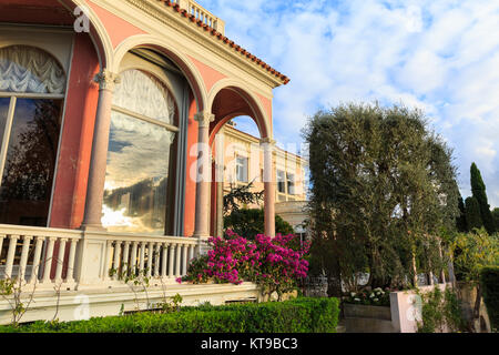 Mediterranean gardens and exterior of Villa Ephrussi de Rothschild, Cap Ferrat, Cote d'Azur, South of France - Stock Photo