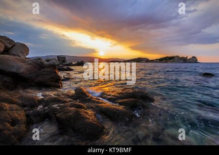 sunrise in Ammouliani Island, Greece - Stock Photo