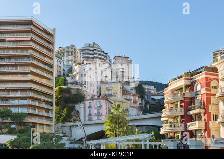 Crowded real estate, historic buildings and tightly placed luxury properties in Monte Carlo, Principality of Monaco, - Stock Photo