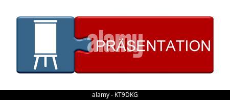 Isolierter Puzzle Button aus zwei Teilen mit Symbol zeigt Präsentation - Stock Photo