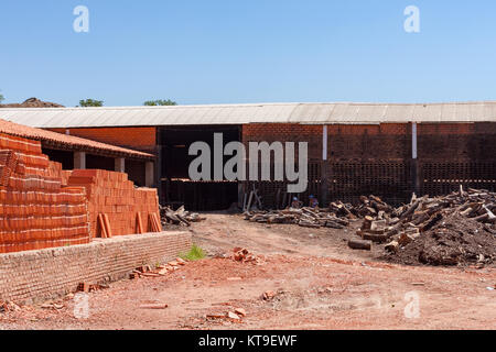 Roofing tile and bricks traditional operations factories, Tobati District, Cordillera Department, Paraguay - Stock Photo