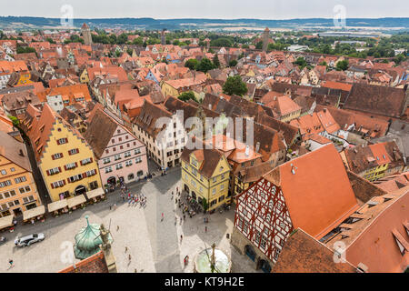 Aerial view of Rothenburg ob der Tauber - Stock Photo