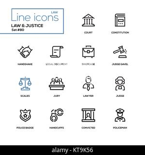 Law and justice - line design icons set - Stock Photo