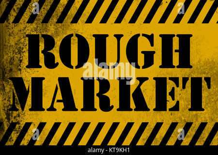 Rough Market sign yellow with stripes - Stock Photo