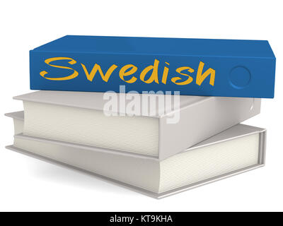 Hard cover blue books with Swedish word - Stock Photo