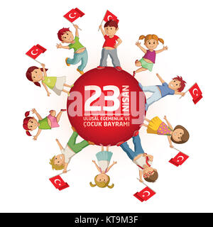April 23 Turkish National Sovereignty and Childrens Day - Stock Photo
