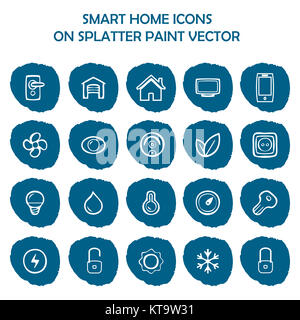 Smart home icons on blue splatter paint. Flat icons on round pai - Stock Photo